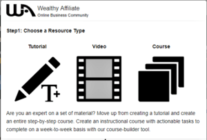 where to create training at Wealthy Affiliate